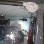 Um dos tiros acertou o pára-brisa do ônibus