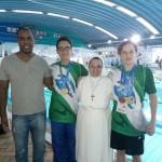 Nadadores de Palmeira_técnico Alexandre Pina, João Carlos, Irma Leonilda e Luigi Maciel.