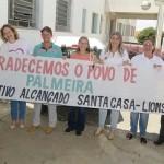 Faixa de agradecimento Santa Casa de Palmeira e Lions Clube