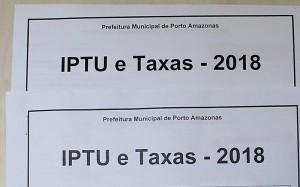 IPTU e Taxas de 2018 de Porto Amazonas