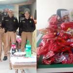 PMs fazem visita surpresa em festa de aniversário e arreacadam doces para o Dia das Crianças