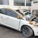 Veículo é roubado e dona do carro é levada como refém e ladrões acabam capotando na PR 151_foto Bruna Camargo_1