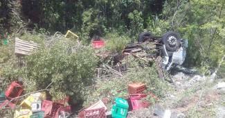 Caminhão carregado de bebidas tomba na PR 151 (2)
