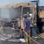 Caminhão carregado de batatas pega fogo na PR 151_7