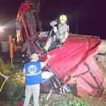 Caminhão carregado de sauínos tomba na PR 151_4