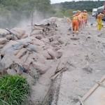 Camihão com carga de cimento tomba na BR 277_11
