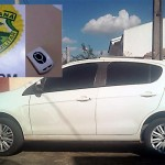 Veículo Palio branco usado nos furtos e dispositivo que inibe alarme_fotos PM e Rinaldo Agotani_Rádio Ipiranga