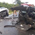 Acidente entre dois carros na PR 151 em Faxinal do Quartins mata jovem de Palmeira_1_ foto rede social WhatsApp