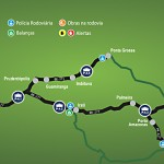 Mapa praças de pedágio Caminhos do Paraná