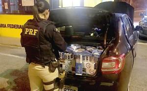 PRF realiza apreensão de sete mil carteiras de cigarros na BR-277_23-07-19