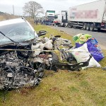 Acidente entre Saveiro e caminhão na PR-151 causa a morte do motorista do carro_foto Fábio Matavelli